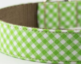 Lime Green Gingham Dog Collar