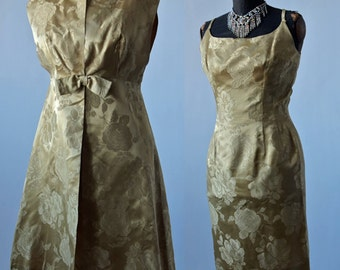 50's Dress Set Gold Brocade Wiggle Satin Brocade Dress With Matching Coat and Bow Wedding Bridal