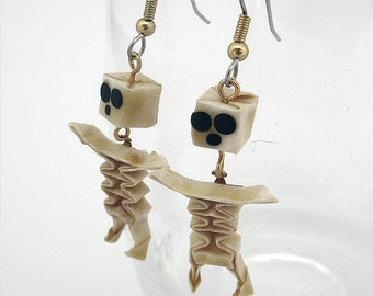 origami skeleton dangle earrings