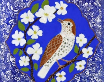"Wood Thrush and Dogwood, ceramic clay tile, 6x6"" wall tile"