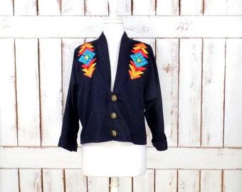 Vintage black cotton Southwestern cropped Tribal print blazer jacket/Native American jacket/Alfredos Wife