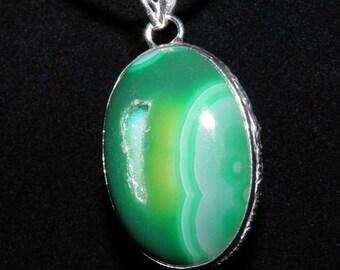 Shop Closing Clearance Sale DRUZY AGATE Necklace Druzy Necklace Statement Necklace Emerald Green Druzy Big Gemstone Pendant Sterling Silver