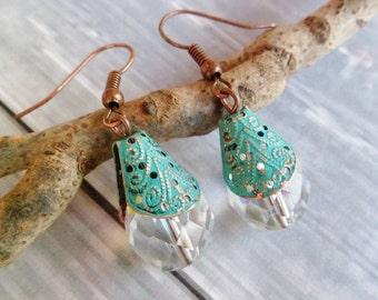 Czech Glass Earrings. Copper And Czech Glass Earrings. Dangle Earrings. Blue Patina Earrings. Handmade Earrings. Ethnic Earrings.