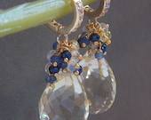 """RESERVED FOR A. Pendant Necklace Lemon Yellow Topaz Ethiopian Opal Tanzanite Sapphire Blue Zircon Cluster 18"""" Gold Filled Chain"""