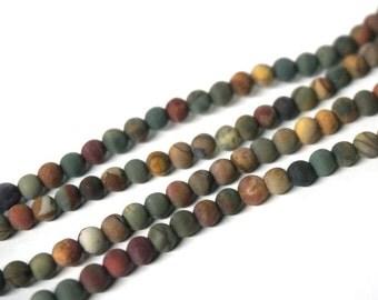 4mm Matte Red Creek Jasper beads, round gemstone, 8 inch strand (1097s)