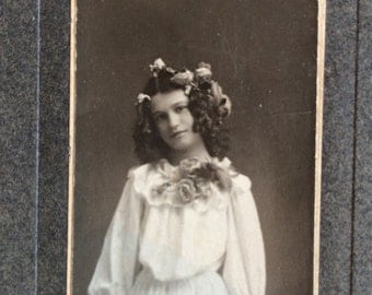 Antique Photo Girl in White Dress with Roses in her Curly Hair