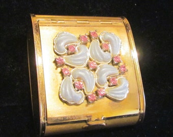 1950's Gold Powder Compact Pink Rhinestone Vanity Compact UNIQUE