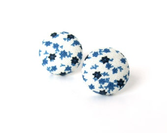 White dark blue stud earrings - small star fabric earrings -  marine button earrings - cute tiny earrings - summer earrings
