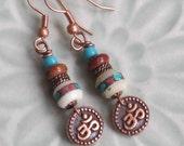 Om Earrings, Nepal Mala Beads, Red Creek Jasper, Copper Ohm, Yoga Jewelry