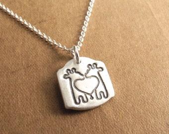 Mini Twin Giraffe Necklace, Mini Giraffe Twins Necklace, Fine Silver, Sterling Silver Chain, Made To Order