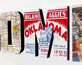 Oklahoma City HOME Sign, Wood Letters Wall Hanging, Typography Home Decor, Housewarming Gift, Vintage Style Decor. Postcard Map Art