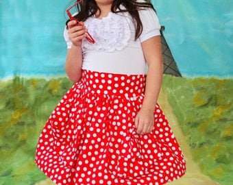 Girls little polka dot vintage look high waisted skirt Valentines