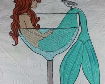 Embroidered Mermaid in a Martini Glass - Beach Decor Pillow