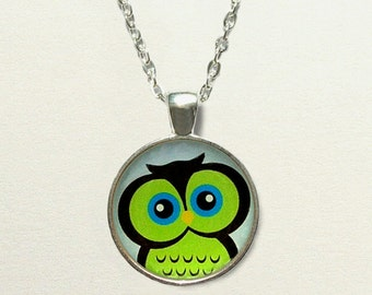 Green Owl Necklace jewelry, owl jewelry, owl pendant necklace, owl gifts, owl accessories, childrens jewelry little girls, owl birthday gift