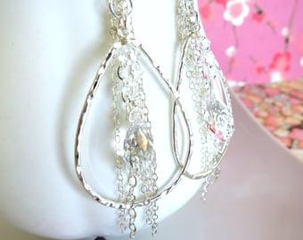 Silver hoop Swarovski crystal tear drop tassle earrings, Sterling silver hoop crystal chain earrings, Crystal icicle chandelier hoop earring