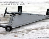 Hand Forged Iron Rustic Style Corner Mounting Shelf by VinTin