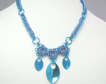 Cool Water Chainmaille Statement Necklace