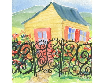 Happiness Yellow Cottage, watercolor, 8x8 Art Print (not framed).
