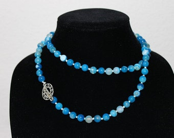 Fifty Shades of Blue - Hand Knotted Agate Necklace