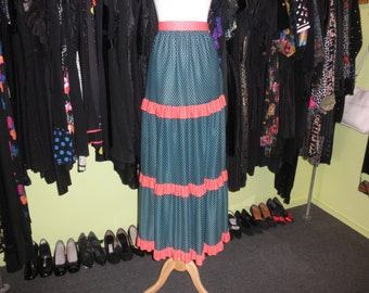 70s red green prairie maxi skirt 1970s white polka dot ultimate Christmas ruffled tiered full length long hostess holiday skirt size small