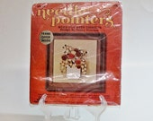 Vintage Needle Point Kit Natural Autumn Wall Decor Weed Pot with Thistles  DIY