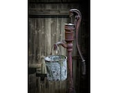 Vintage Rusty Water Pump with Bucket by an old Wooden Barn in West Michigan No.284 A Fine Art Still Life Photograph