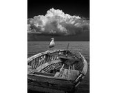 Wooden Shipwrecked Boat with Lone Gull and Billowing White Cloud No.BW0881 a Vertical Black and White Nautical Seascape Photograph