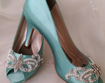 Wedding Shoes Aqua Blue Bridal Shoes with Pearls and Crystals -  Over 100 Colors To Pick From