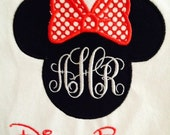 Mouse Head with Bow and Monogram