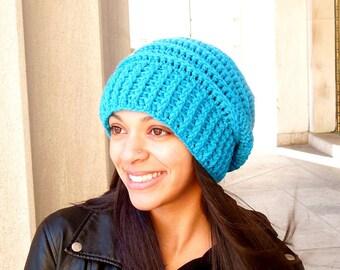 Crochet Slouchy Hat, Beehive Hat, Tam Hat, Crochet Hat, Color is Aqua