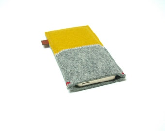 IPHONE 7plus / 6plus Case FELT - yellow & grey - merino wool in bight colors slim fit for your iPhone 6+ / 7+