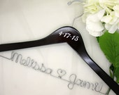 Dark Walnut Personalized Wooden Bridal Hanger with Date Addition, For Bride's Dress, Bridal Pictures, Custom Made