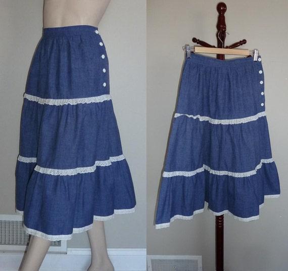 70s prairie skirt blue denim look white by hookandeyevintage