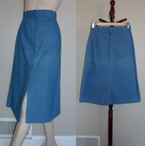 70s denim skirt blue jean tomboy of by hookandeyevintage
