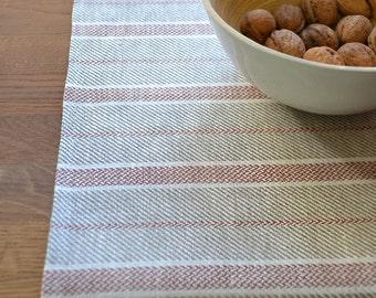 Striped Table Runner Gray Linen Runner With Red Stripes Linen Runner Gift Table Runner