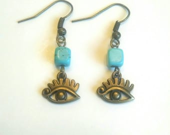 Tiny Natural Turquoise And Evil Eye Dangle Earrings