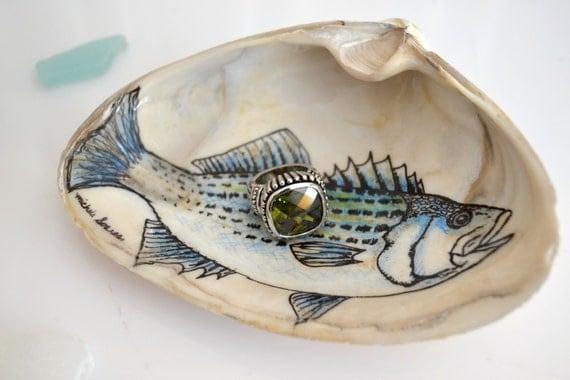 Wedding Ring Holder Bass Fish Ring Dish Gift for Groom Men
