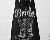 Cowgirl Boots Bride - Country - Black with Silver Flowy Racerback Tank