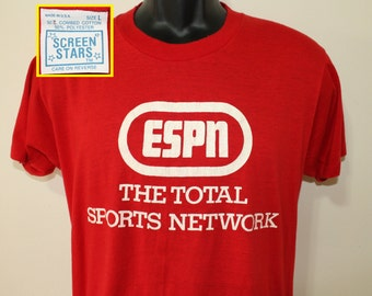 ESPN Total Sports Network vintage early Screen Stars red t-shirt M/L