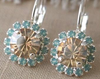 Silver Mint Champagne drop earrings, Silver Swarovski Crystal earrings, Bridal earrings, Gift for woman, Silver Drop earrings bridal jewelry