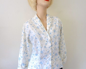 1950s Cotton Blouse / Vintage Floral Embroidered Shirt