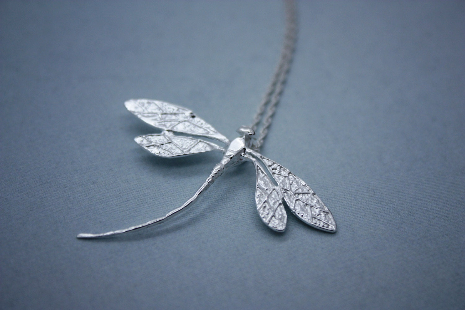 Dragonfly Necklace Sterling Silver Plated Dragonfly Jewelry