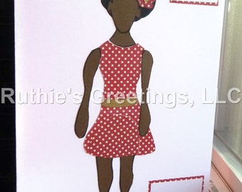 Afro Birthday Ladybug - Handmade Birthday Card for Daughter