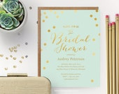 Printable Bridal Shower Invitation  // Mint with Gold Dots  // Editable Instant Download
