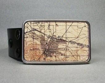 Belt Buckle Helena Montana Vintage Map on Metal Unique Gift for Men or Women