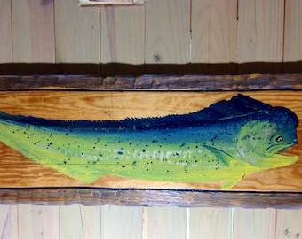 Mahi Mahi painting with distressed Frame 4ft vintage look aqua dolphinfish wall art  beach home decor on reclaimed pine wood fish sign