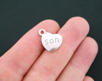 6 Son Heart Charms Antique Silver Tone 2 Sided - SC4693