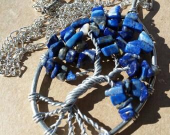 Tree of Life Necklace (lapis lazuli)