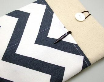 iPad Air case 2, iPad cover, iPad sleeve/ Samsung Galaxy Tab 3 10.1with 2 pockets, PADDED - Dark grey chevron