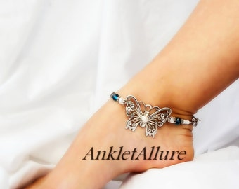 Beach Butterfly Anklet Freshwater Pearl Anklet Beach Ankle Bracelet